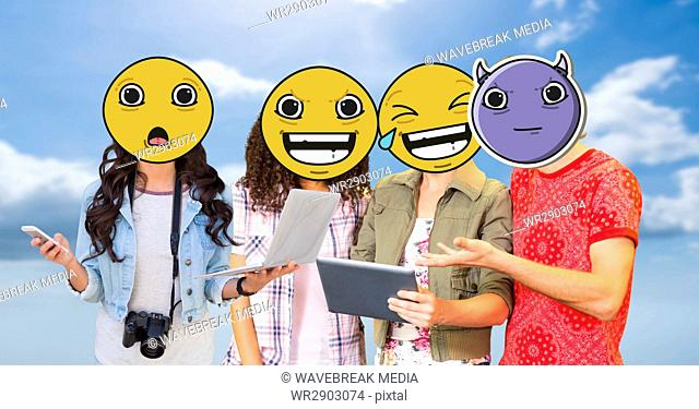 Friends with emojis over faces using technologies