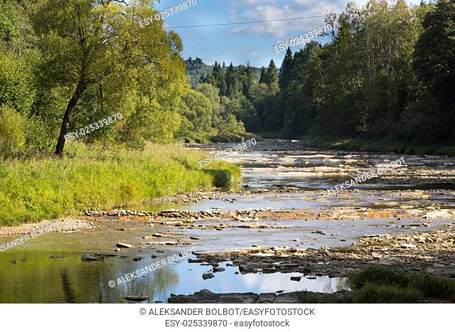 San River and Wolosaty Stream junction in summer landscape, Bieszczady Region, Poland, Europe