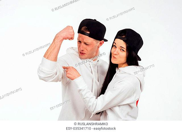 studio shot of two people isolated on a white background