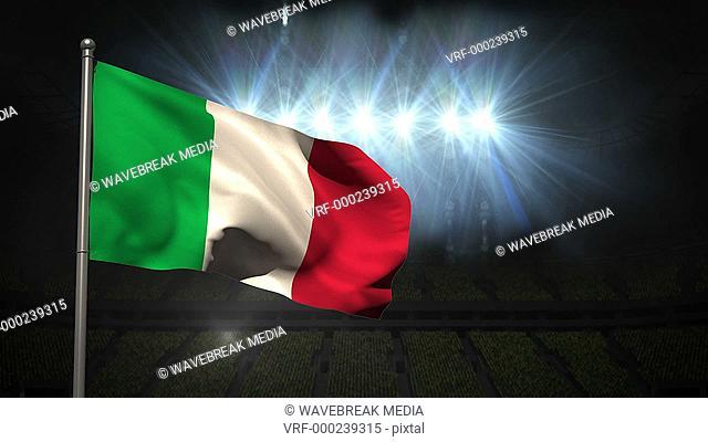 Italy national flag waving on flagpole