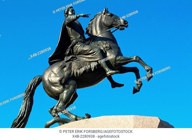 Bronze Horseman, statue made famous by Pushkin, Senate Square, central Saint Petersburg, Russia, Europe