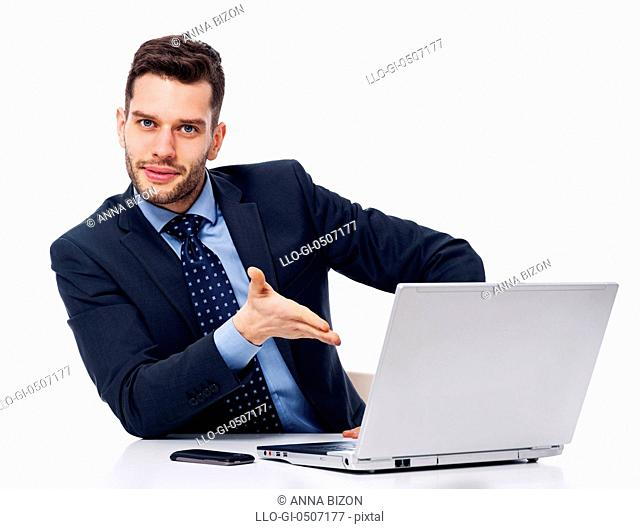 Smiling businessman showing on laptop, Debica, Poland