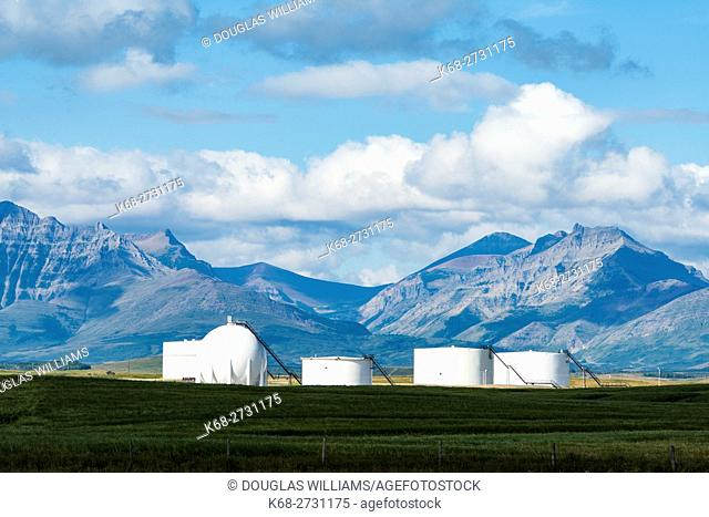 Gas storage containers near Twin Butte, Alberta, Canada, south of Pincher Creek