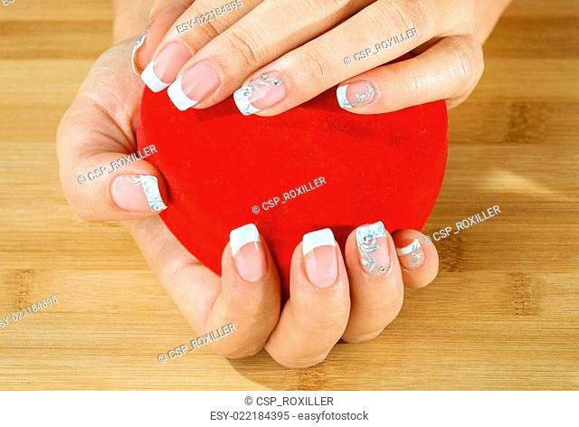 Beautiful woman hand with france manicure