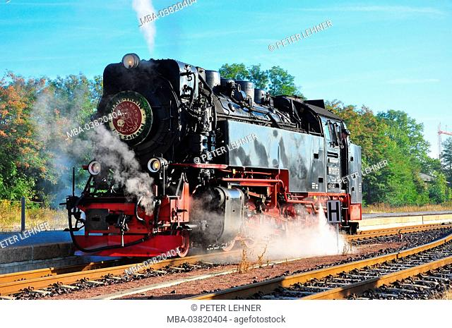 Germany, Saxony-Anhalt, Harz foothills, Quedlinburg, steam engine, nostalgically, Harz Narrow Gauge Railways