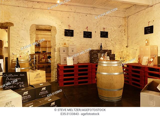 A typical French wine tasting room at the Domaine Montrose Tourbes, France