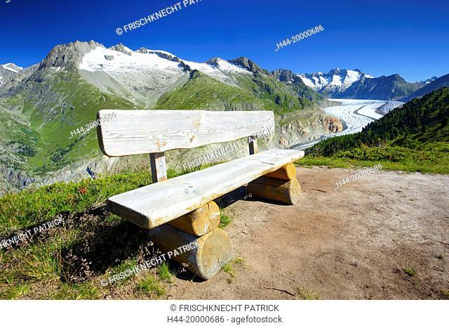 Bench, Seat, in the Aletsch glacier, Valais, Switzerland