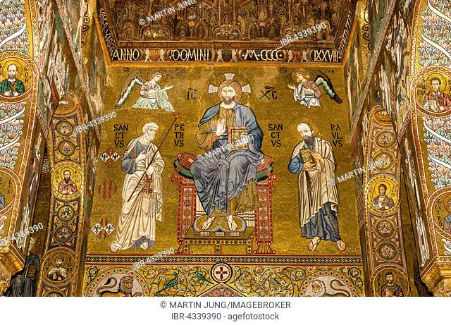 Byzantine mosaic, Christ Pantocrator enthroned and flanked by Saints Peter and Paul, Cappella Palatina, Palatine Chapel of the Palace of the Normans or Royal...