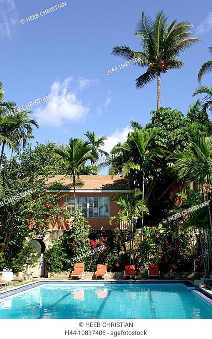 Bahamas, Pool, Graycliff Hotel, Nassau, Caribbean, hotel, green, nature, deck chairs, palms, palm trees, house, buildi