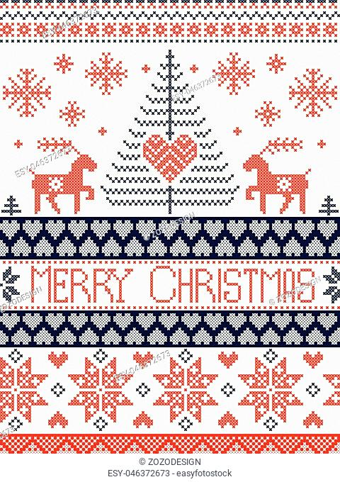 Merry Christmas Tall Scandinavian Printed style and inspired by Norwegian Christmas and festive winter seamless pattern in cross stitch with reindeer, Xmas tree