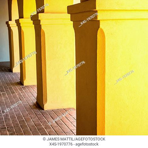 The shaded colonnade at Mission Tumacacori, Arizona
