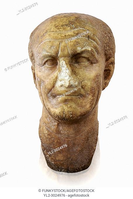 Roman sculpture of the Emperor Vespesien, excavated from Althiburos sculpted circa 69-79AD. The Bardo National Museum, Tunis, Inv No: C. 1025