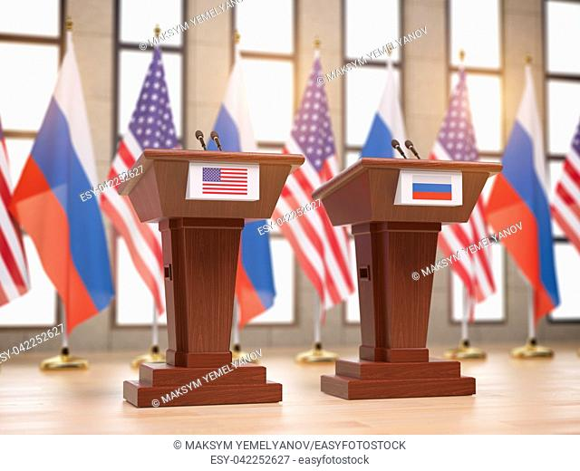 Flags of the USA and Russia and tribunes at international meeting or conference. Relationship between China and Russia concept. 3d illustration