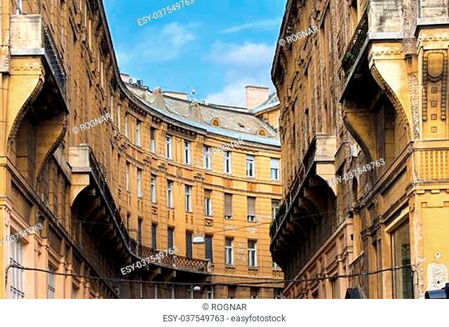 Curved shape of a historic apartment building residential architecture in Budapest, Hungary