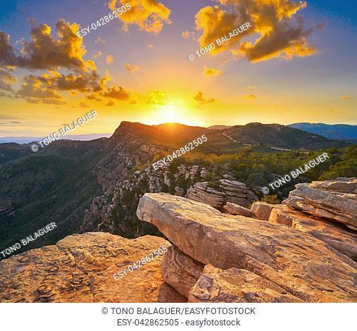 Garbi peak sunset at Calderona Sierra of Valencia at spain