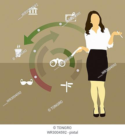 Businesswoman with paper and pen posing and infographics
