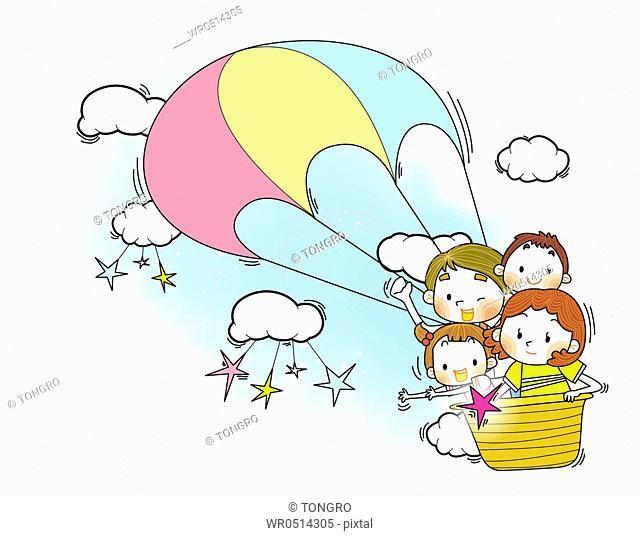 Happy family on hot-air balloon