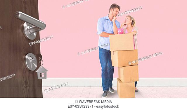 people moving boxes into new home