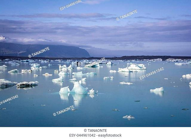 Ice floating in Jokulsarlon glacier lake in Iceland. The icebergs are originating from the Vatnajokull float. This location was used for various action movies