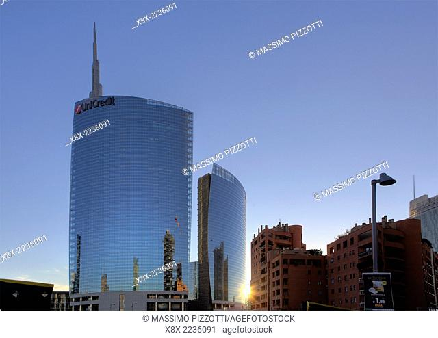 Moder skyscrapers in Porta Nuova and Unicredit tower, Milan, Italy