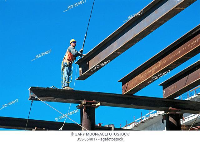 Erecting falsework for freeway bridge. I-880 Cypress Project. Oakland, California. USA