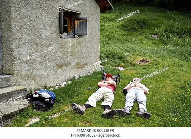 Alp Purcher, the Engadine, exhaustion, Graubünden, Julia, national park, break, rest, Regina, rest, Val Trupchun, traveller