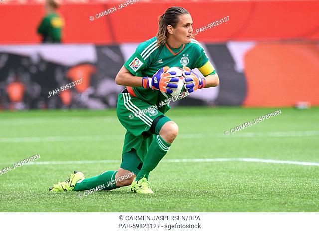 Germany's goalkeeper Nadine Angerer reacts during the FIFA Women«s World Cup 2015 third place soccer match between England and Germany at the Commonwealth...