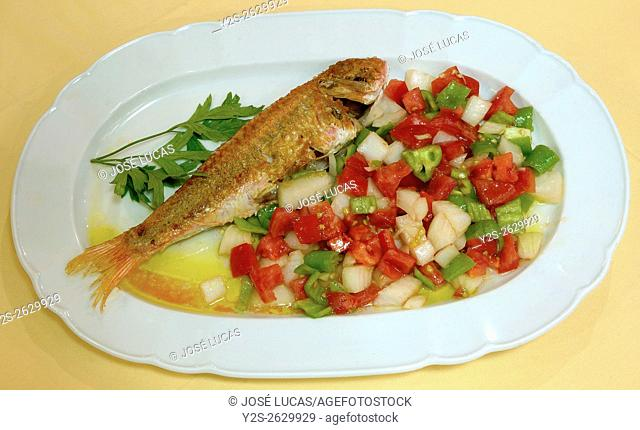 """Fried red mullet with """"""""piriñaca"""""""" (salad), Cadiz, Region of Andalusia, Spain, Europe"""