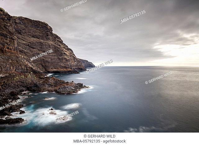 Rock coast on the west coast near Tijarafe, La Palma, Canary Islands, Spain, Europe