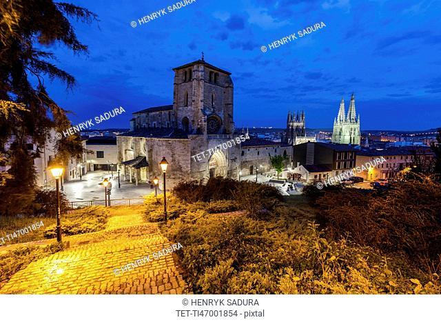 Spain, Castile and Leon, Burgos, Illuminated San Esteban Church