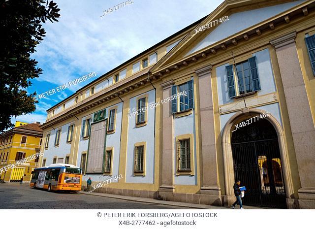 Strada Nuova, with university main building, Pavia, Lombardy, Italy