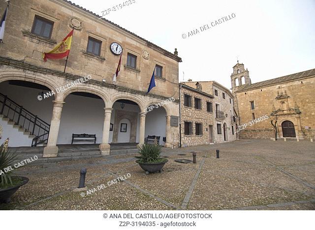Alarcon village in Cuenca province Castile La Mancha Spain Medieval city hall building
