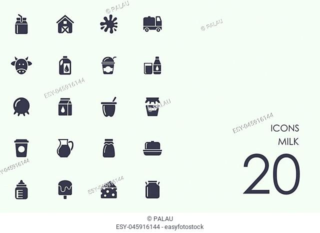 milk vector set of modern simple icons