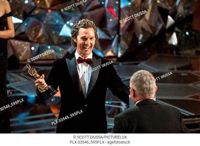 """Matthew McConaughey presents the Oscar® for achievement in film editing to Lee Smith for work on """"Dunkirk"""" during the live ABC Telecast of The 90th Oscars® at..."""