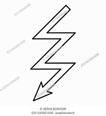 Lightning icon black color vector illustration flat style outline