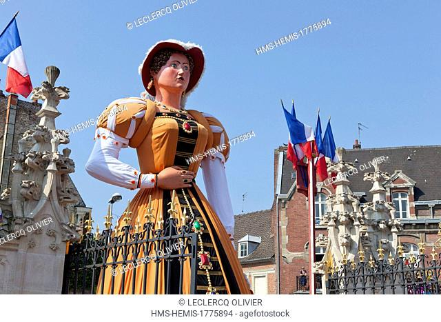 France, Nord, Douai, Gayant Festivals, Geants (Giants) listed as Intangible Cultural Heritage by UNESCO, rigodon in the courtyard of the town hall