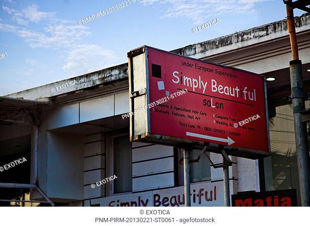 Sign board of a salon, Simply Beautiful Salon, Titos Lane, Baga-Calangute Road, Calangute, Bardez, North Goa, Goa, India