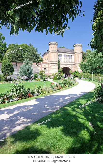 Entrance to the botanical gardens, castle garden, Karlsruhe, Baden-Württemberg, Germany
