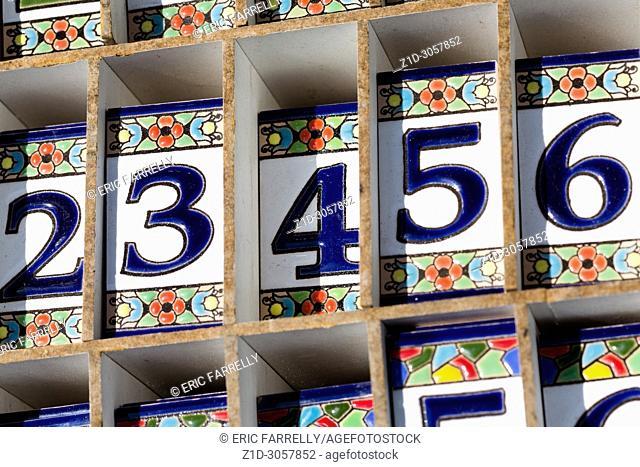 Ceramic Numbers. Street market Torre del mar. Andalucia, Spain