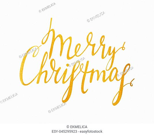 Handwriting calligraphic inscription Merry Christmas. Gold textured lettering design element for banner, greeting card, Christmas and New Year card, invitation
