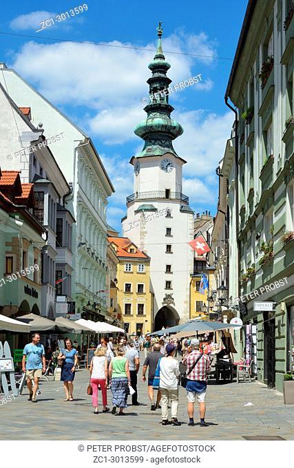 Michalska street and Saint Michael's Gate with Pedestrians in Bratislava - Slovakia