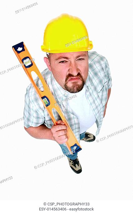 A angry handyman with a level