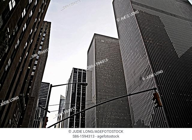 Looking up at Office Buildings in Rockefeller Center, New York City