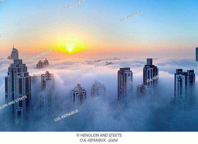 Downtown Dubai at dawn, United Arab Emirates