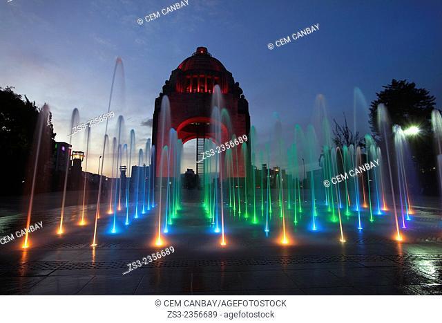 Monument dedicated to the Mexican Revolution (Monumento dedicado a la Revoluci—n Mexicana) at night, Mexico City, Mexico, Central America