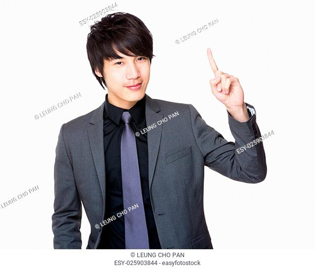 Young Businessman showing finger up