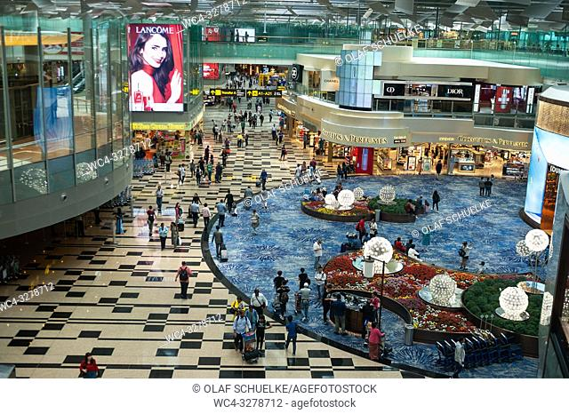 Singapore, Republic of Singapore, Asia - A view of the departure area with shops at Terminal 1 of Singapore's Changi Airport