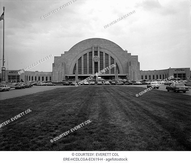 Cincinnati Union Terminal, constructed in 1933, partially demolished in 1974, Cincinnati, Ohio, photograph circa early 1970s