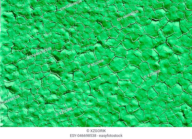 Texture of old paint on metal green color