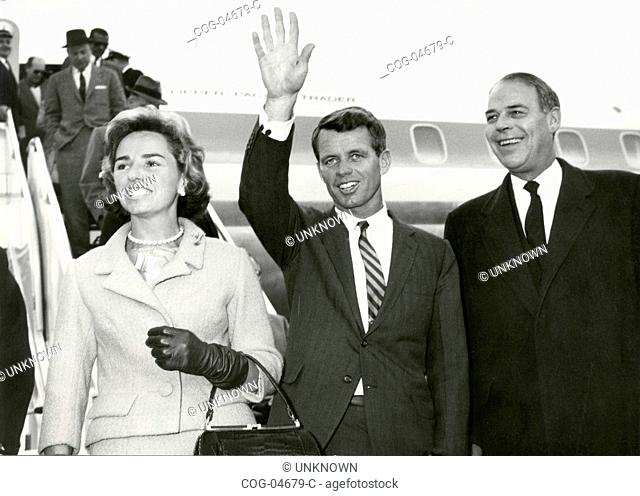 The U.S. Attorney Robert Kennedy, brother of the U.S. President, on his arrival in Rome with his wife and the U.S. ambassador in Rome, Italy